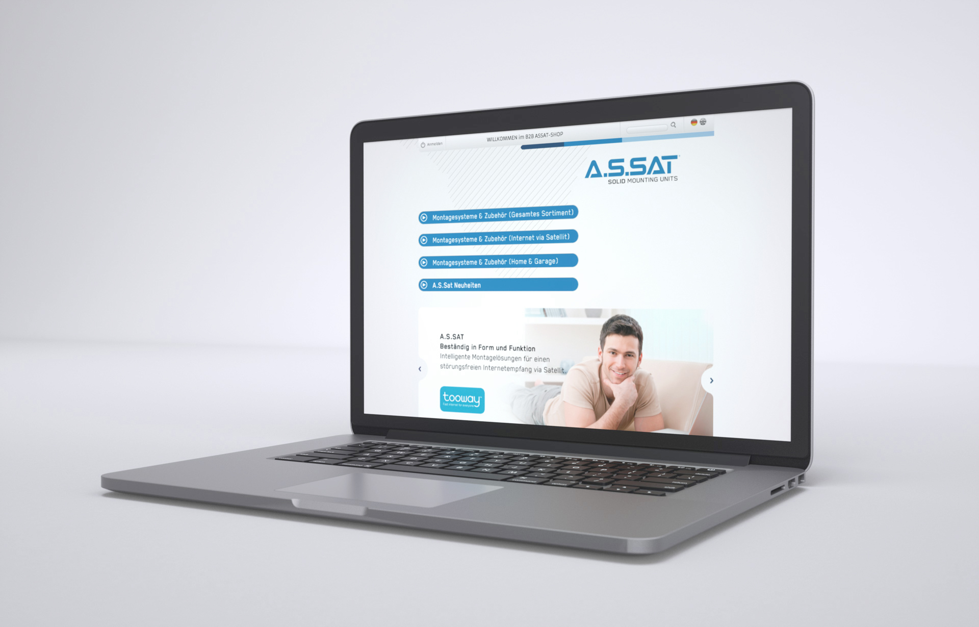A.S.SAT Webseite Laptop